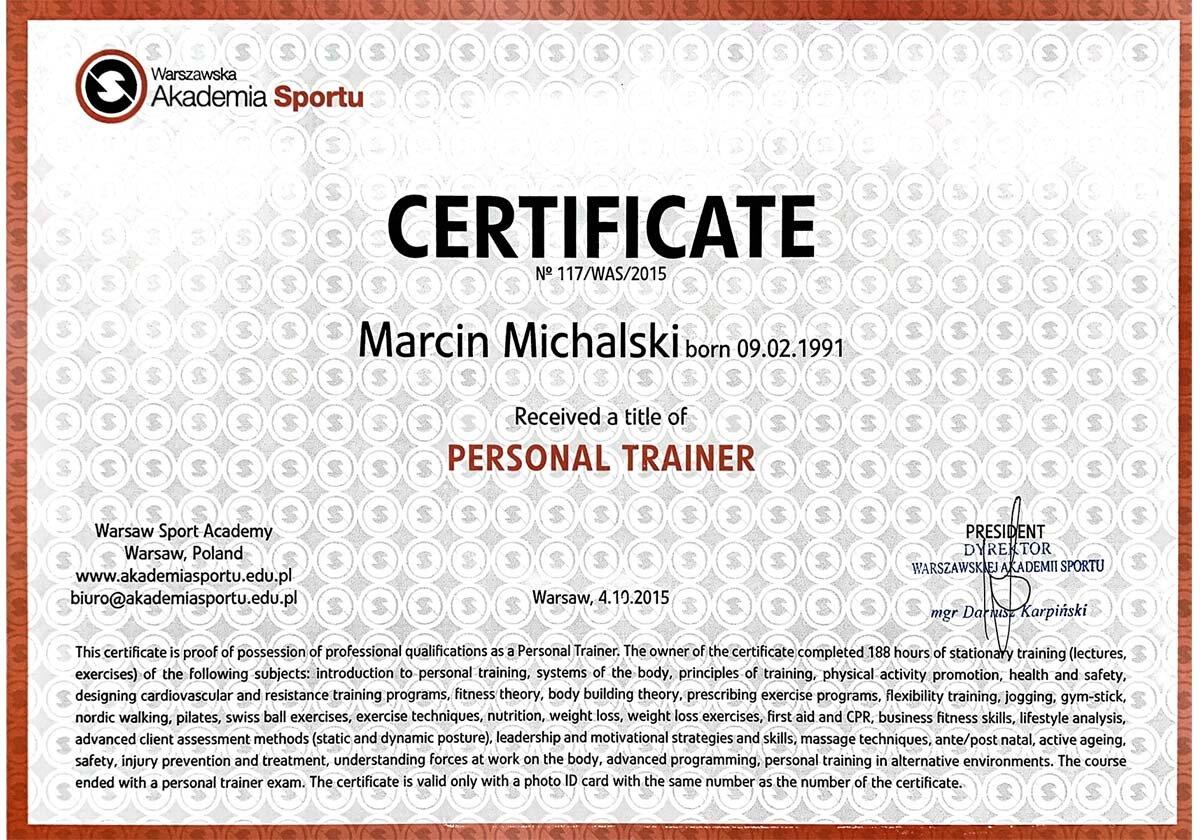 certyfikat Trener personalny